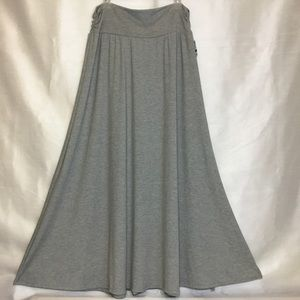 Style & Co Gray Knit Maxi Skirt Ruched Waist.